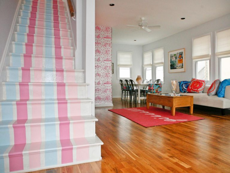 Painted Stairs Ideas - Cute and Adorable Adorable Pink and Blue Stripes