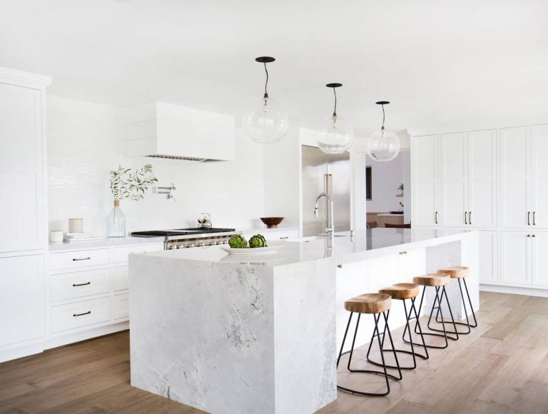 All White Kitchen Designs with Simple Greenery