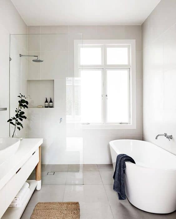 All in White Modern Shower