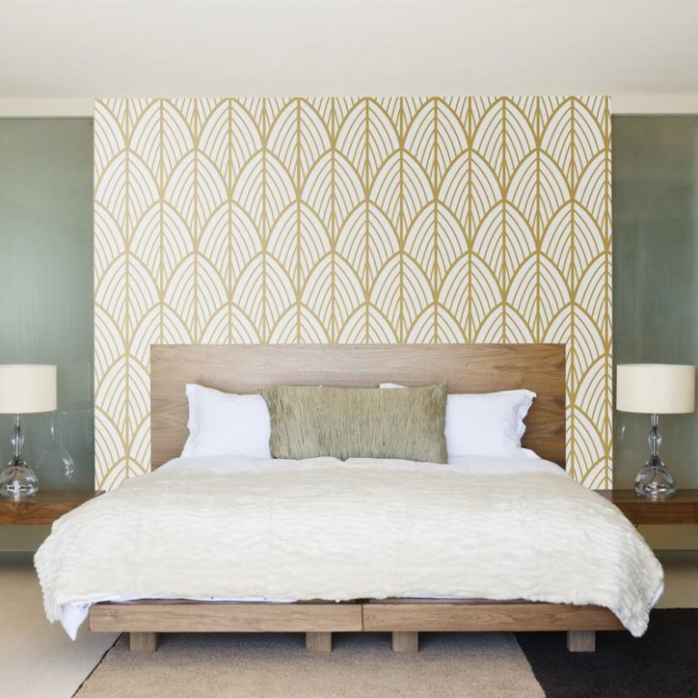 Art Deco Bedroom Leaves Wallpaper