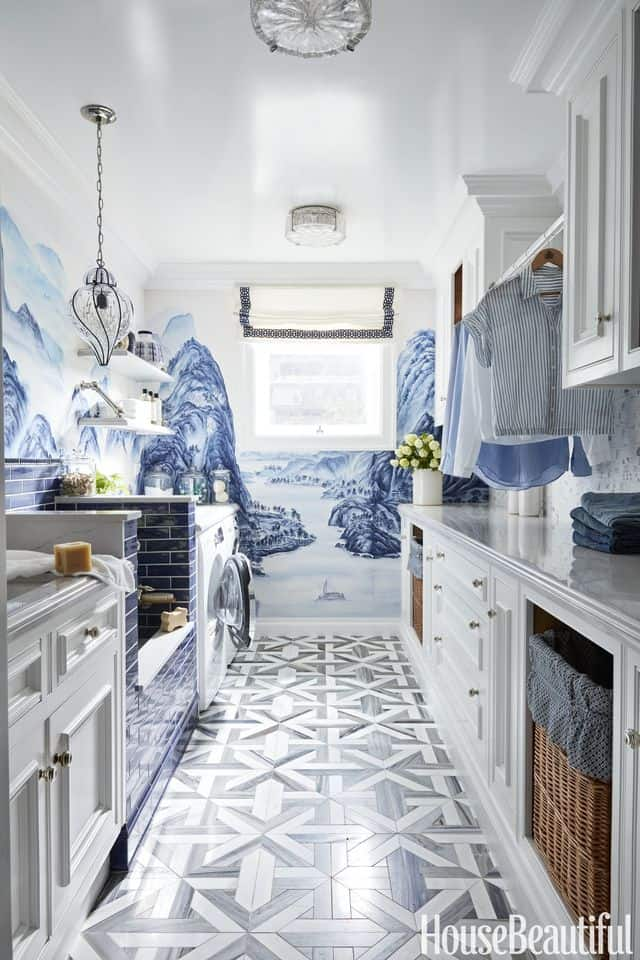 Artsy Blue Laundry Room Paint Color