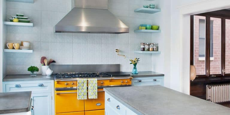 Baby Blue and Yellow Kitchen Cabinet