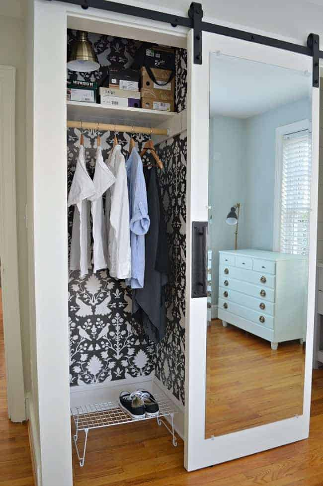 Barn Door Closet Organizer with Mirror