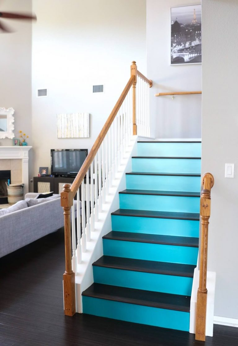 Painted Staircase Ideas - Beautiful Blue Ombre Stairs