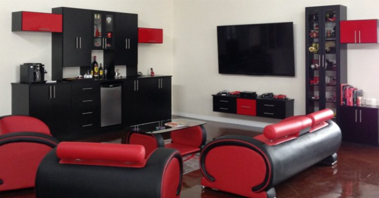 Black And Red Man Cave Ideas