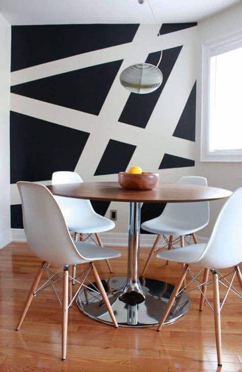 Black And White Geometric Wall Paint