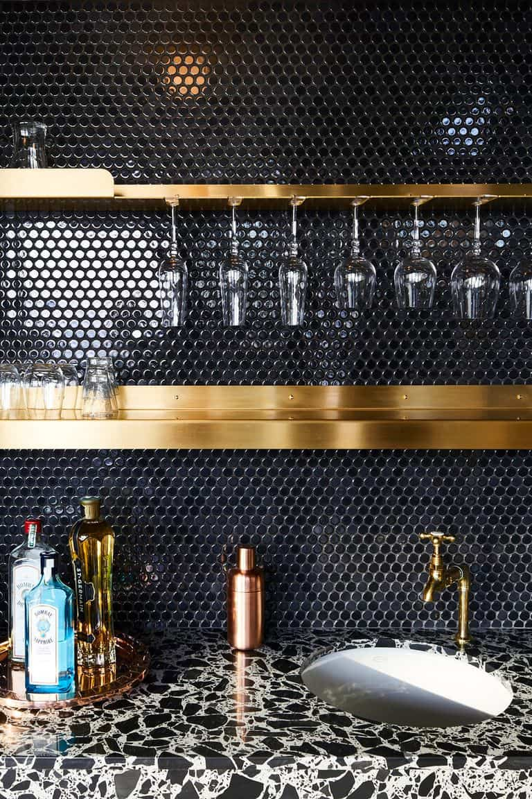 Black Backsplash Penny Tile
