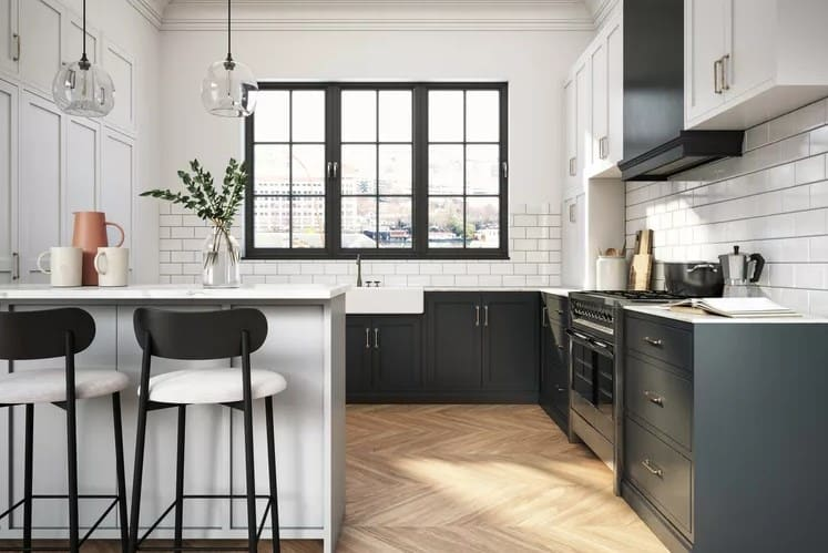 Black Kitchen Cabinet And White Cupboard