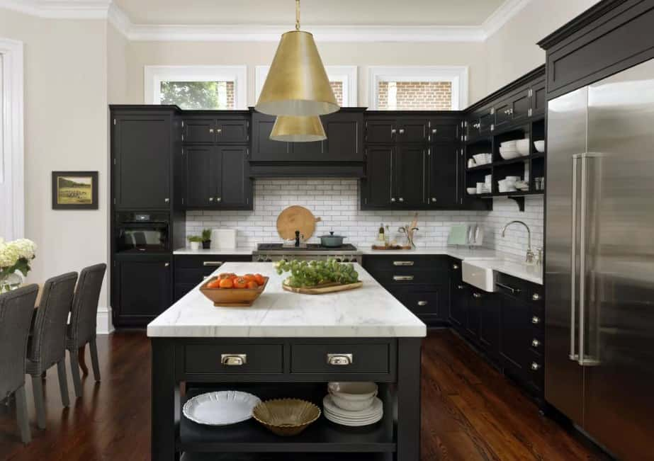 Black Kitchen Cabinet With Marble Countertops