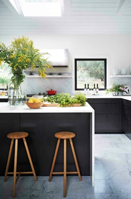 Black Kitchen Cabinet With White Countertops