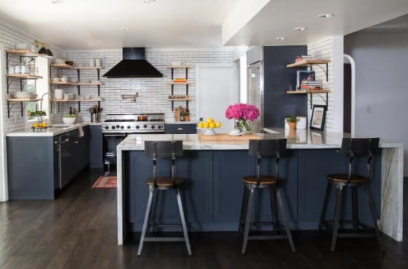 Black Kitchen Cabinet and Open Shelving