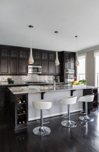 Black Kitchen Cabinet with Grey Countertop