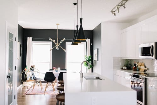Black and White Mid Century Modern Kitchen