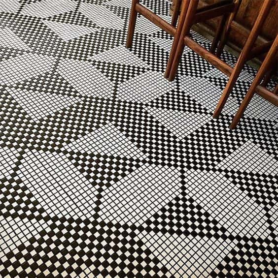Black and White Penny Tile Flooring