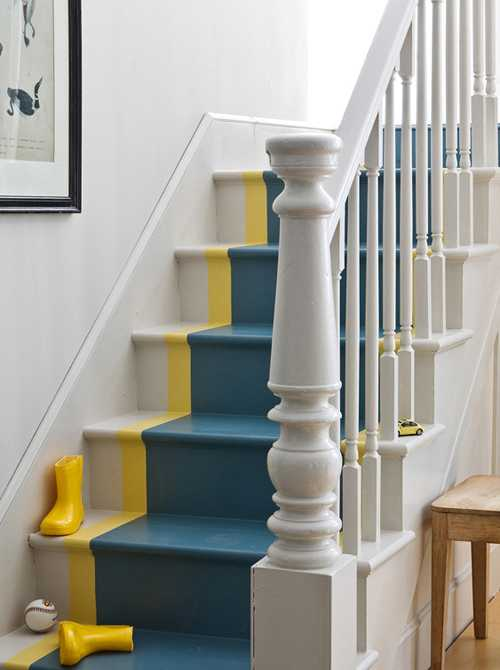 Blue And Yellow Painted Stairs