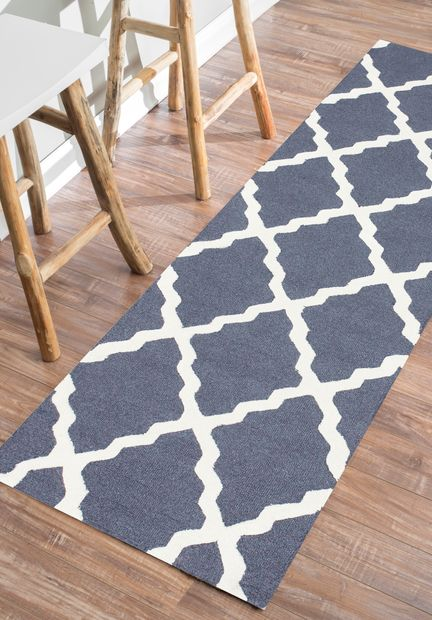 Blue Gray Moroccan Kitchen Runner Rugs