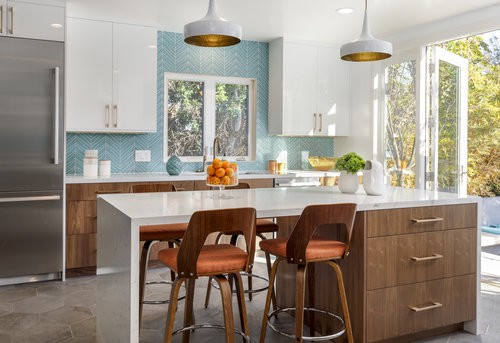 Blue Mid Century Modern Kitchen