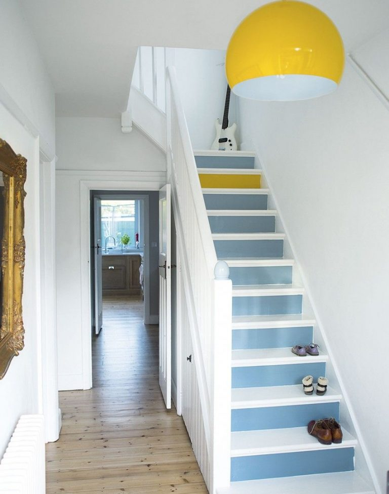 Painted Stairs Ideas - Cool Blue Stairs with a Twist