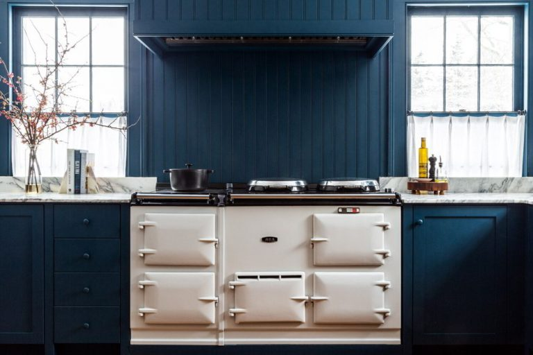 Blue and White Kitchen Cabinet
