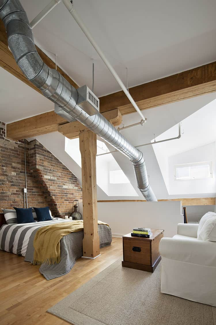 Brick and Pipe Industrial Bedroom