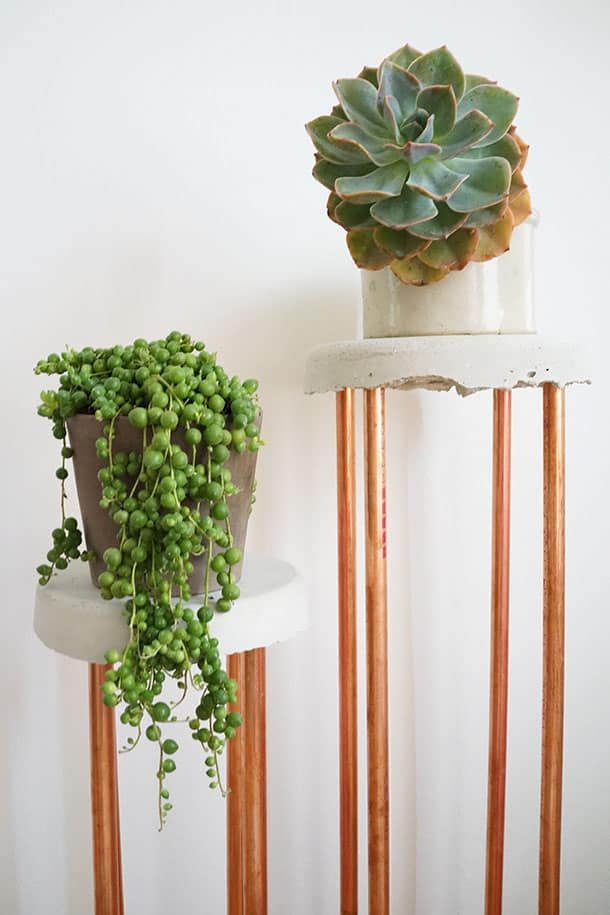 Cement and Copper DIY Plant Stand