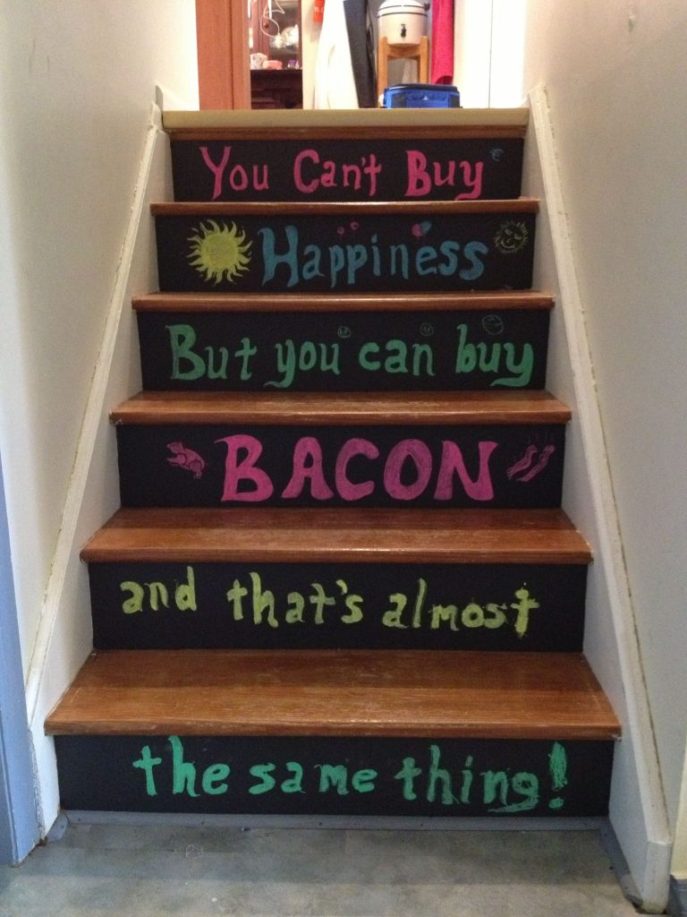 Painted Stairs Ideas - Colorful Chalkboard Painted Staircase