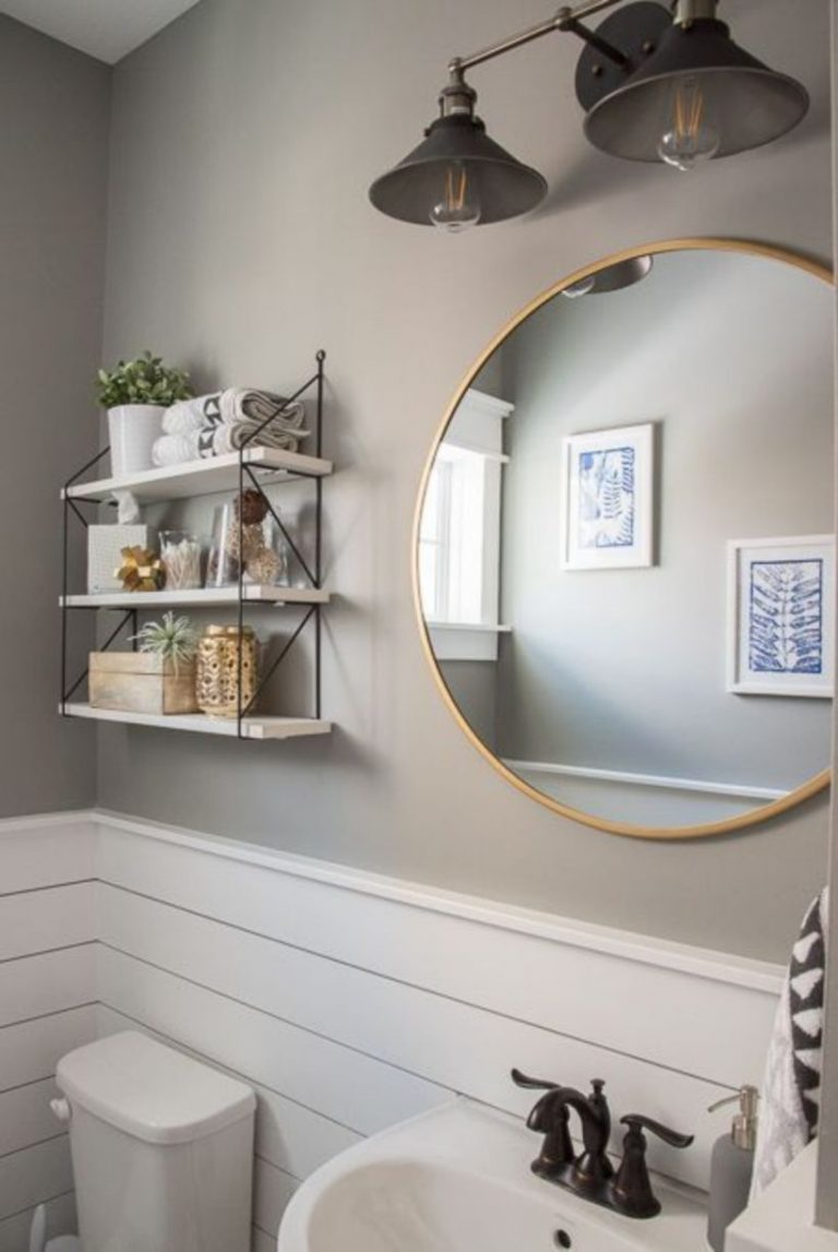 Chic Round Mirror for Fresh and Small Small Bathroom