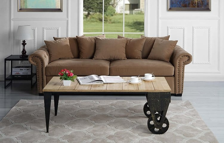 Classic Metal And Wood Cool Coffee Table