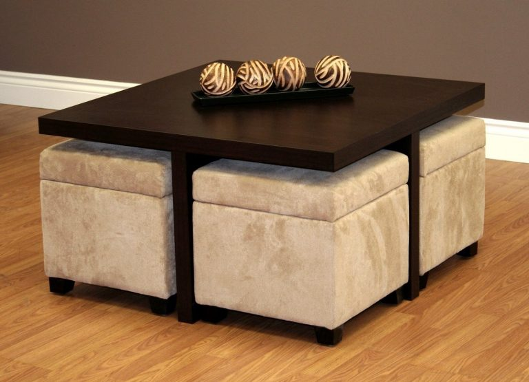 Coffee Table with Pull-Out Ottomans for Modern Livingroom