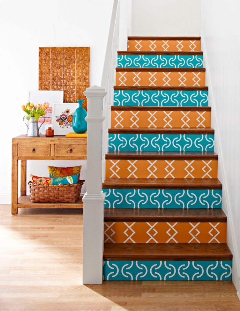 Painted Staircase Ideas - Fun Colored Staircase Pattern