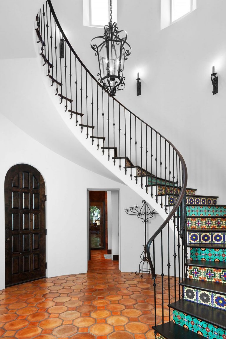 Painted Staircase Ideas - Colorful Moroccan Patterned Stair Wallpaper
