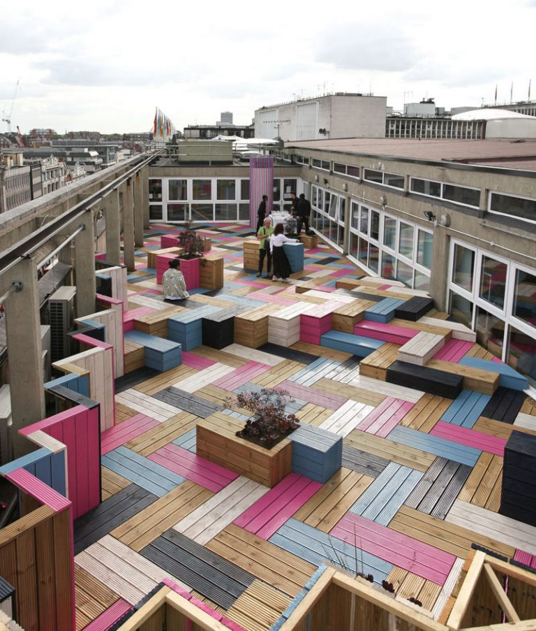 Colorful Rooftop Deck