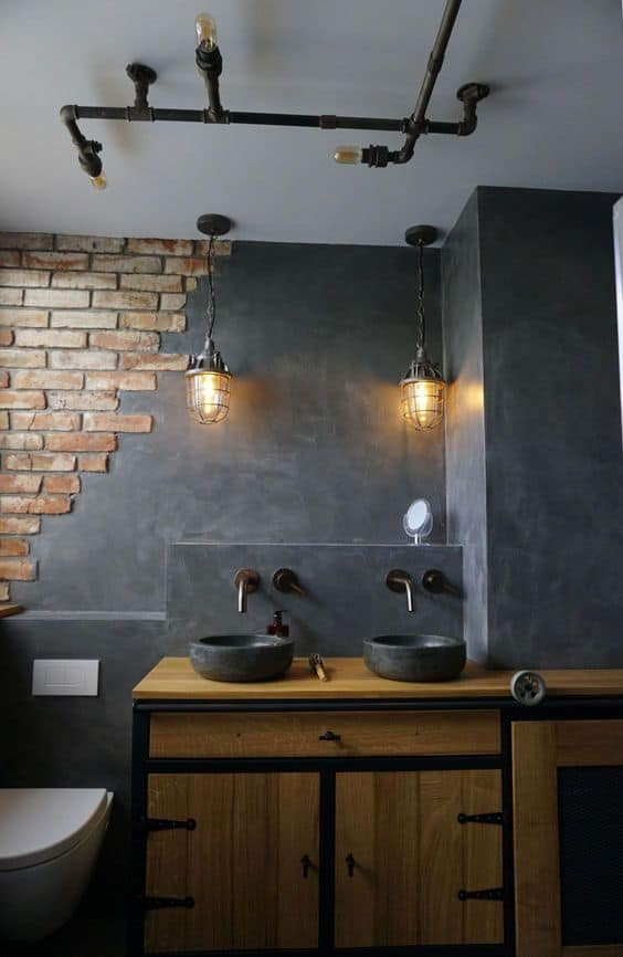 Concrete And Brick Industrial Style Bathroom