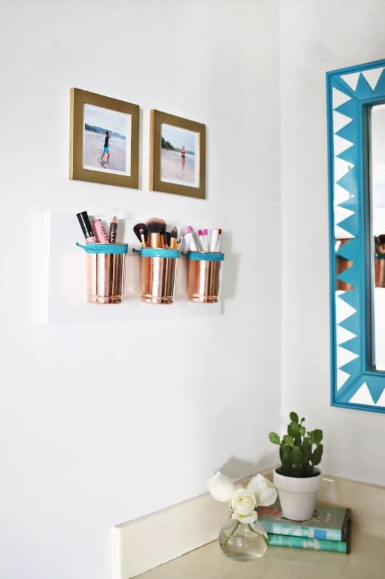 Copper Cups Makeup Storage Ideas