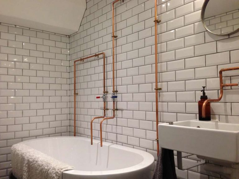 Copper Pipe Industrial Style Bathroom