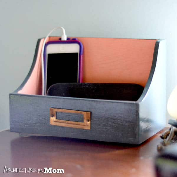 DIY Coral and Gray Charging Station Valet