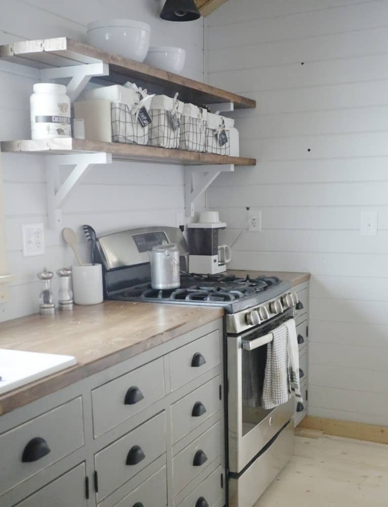 DIY Cabin Open Kitchen Shelving