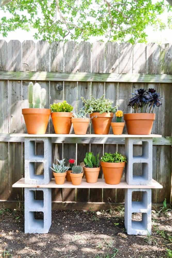 DIY Easy Cinder Block Plant Stand Ideas