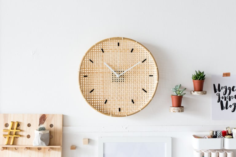 DIY Embroidered Basket Wall Clock