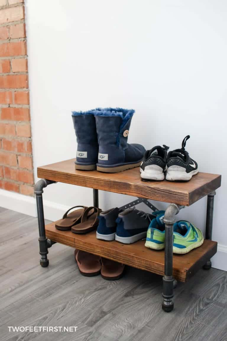 DIY Easy Industrial Shoe Rack