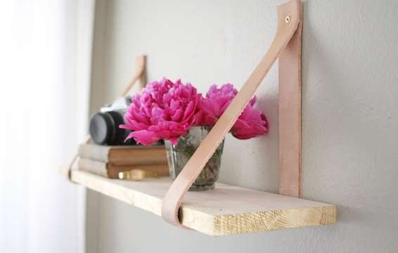 DIY Leather and Wooden Shelf