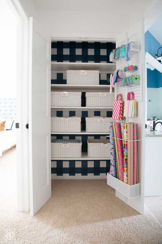 DIY Linen Closet and Wrapping Storage
