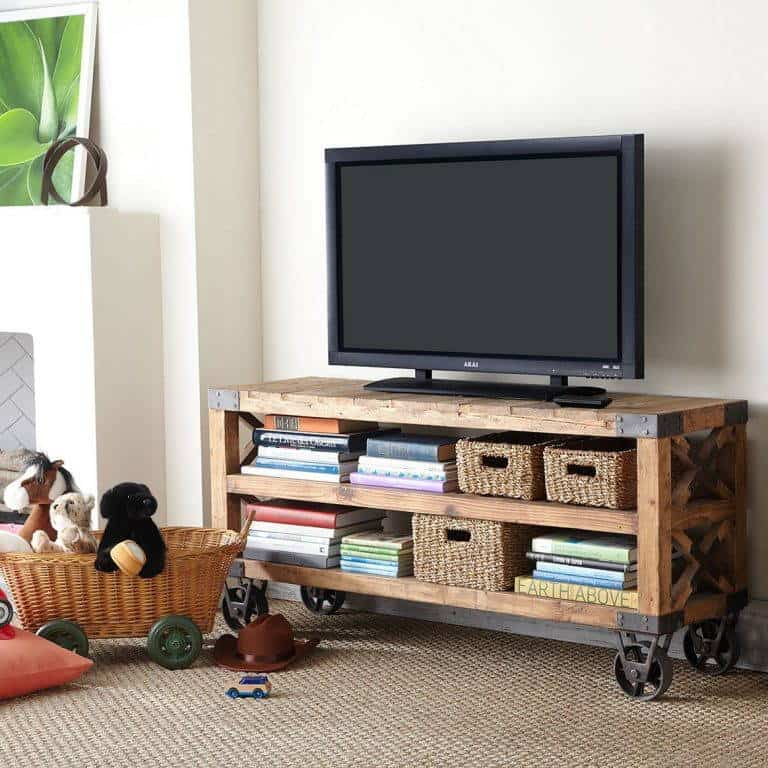 DIY Moveable Wooden TV Stand with Wheels