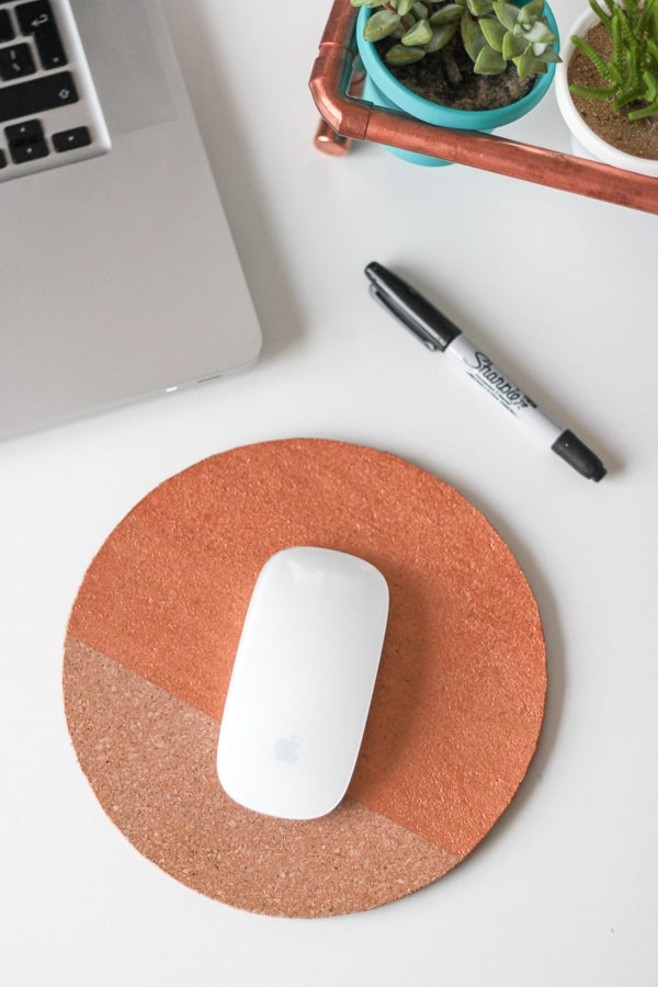 DIY Painted Cork Mouse Pad
