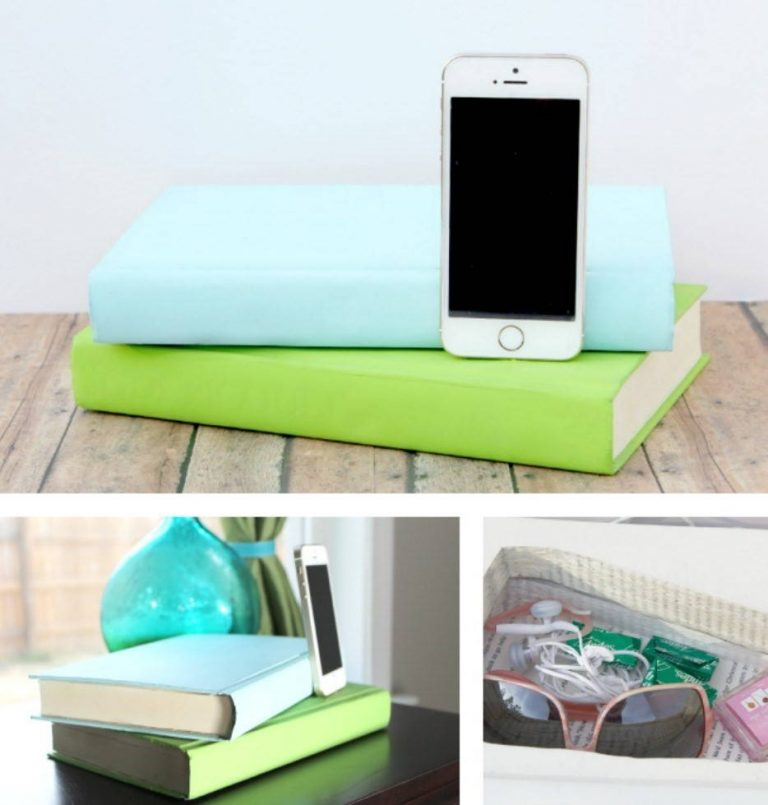 DIY Phone Charging Station Disguised as Books