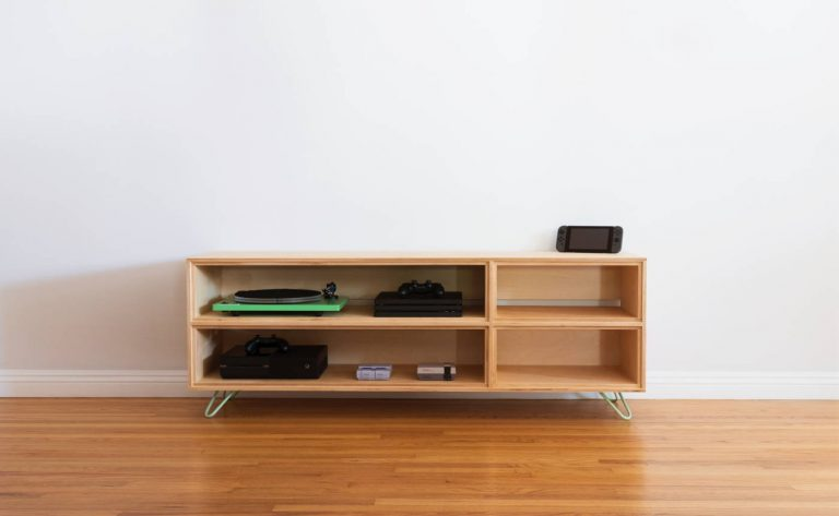 Learn how to build a modern media console out of plywood with this easy-to-follow guide