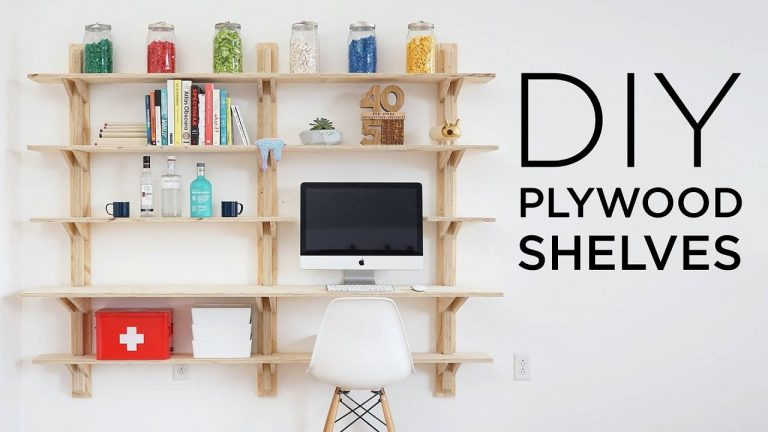 DIY Plywood Shelves TV Stand