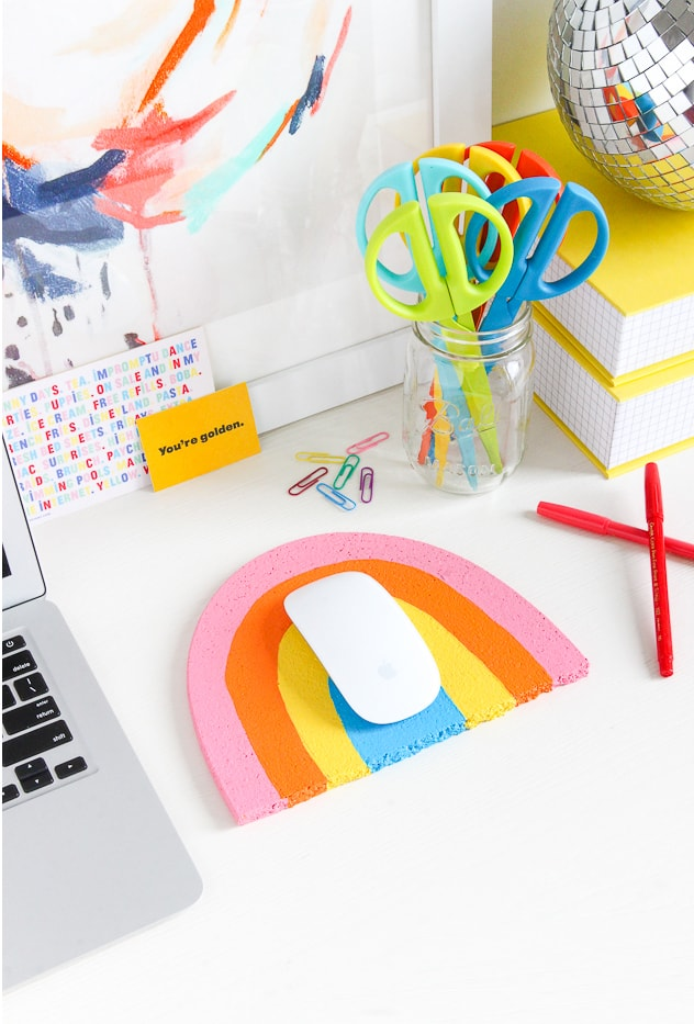 DIY Rainbow Mouse Pad
