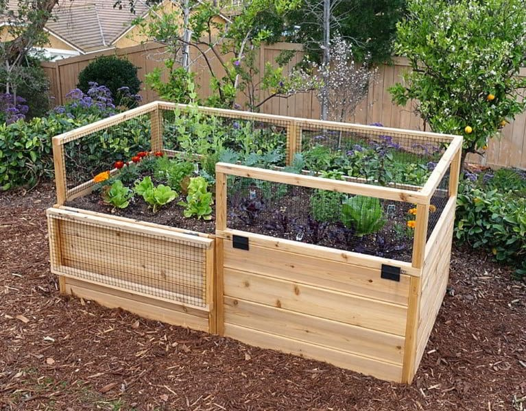 DIY Raised Garden Bed With Hinged Fencing