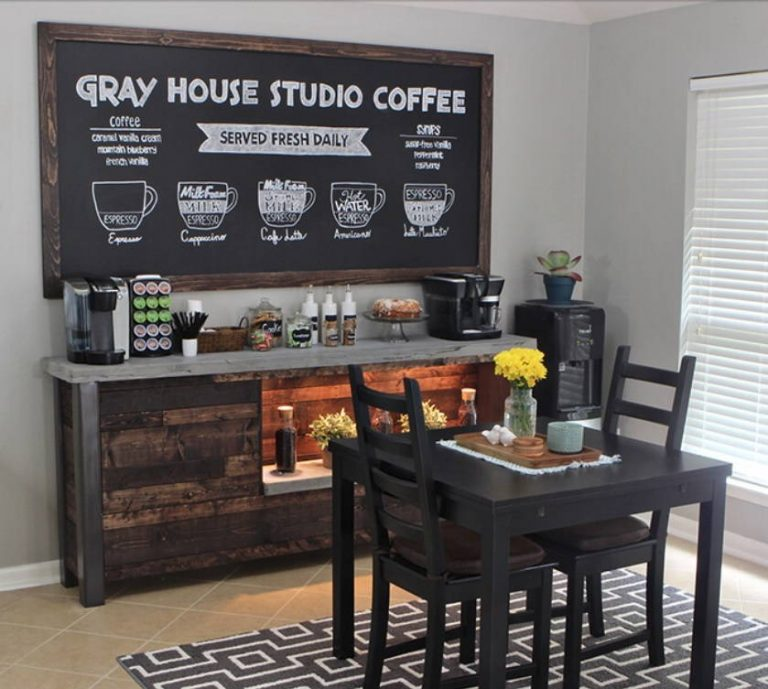DIY Reclaimed Wood Coffee Bar Ideas